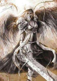 Drawn warrior female angel death Dark and Angel and Fantasy
