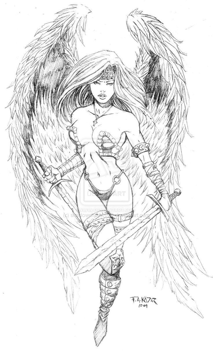 Drawn warrior female angel death Design Angel Best Pinterest warrior