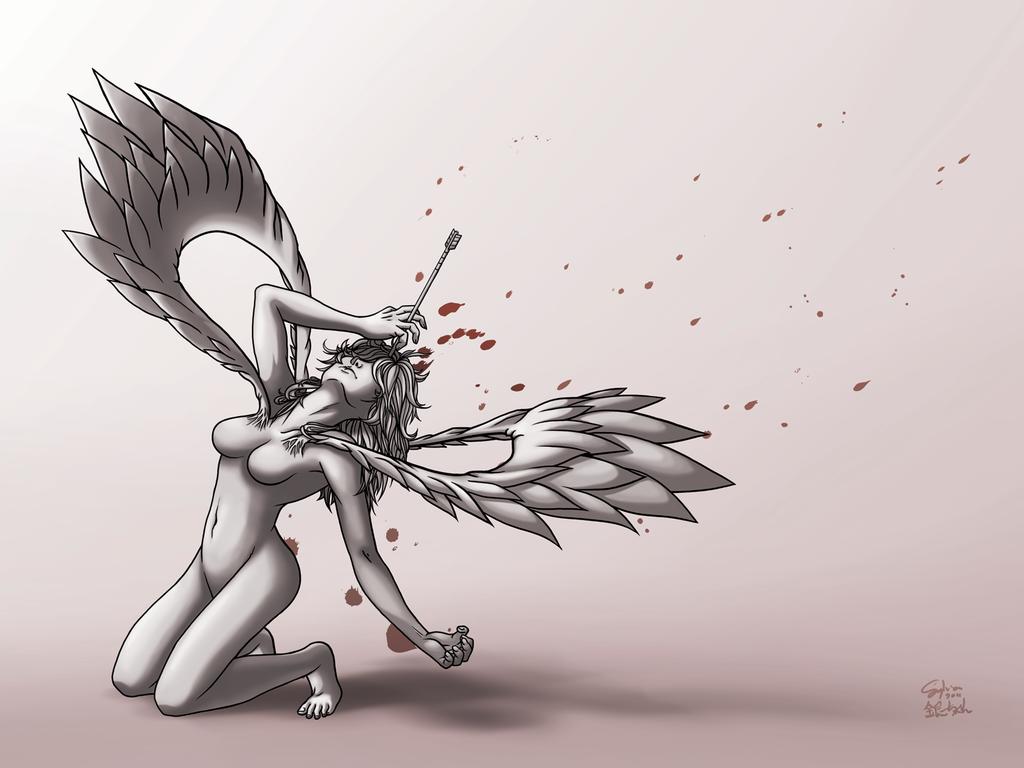 Drawn warrior female angel death An Death ginchan on Angry