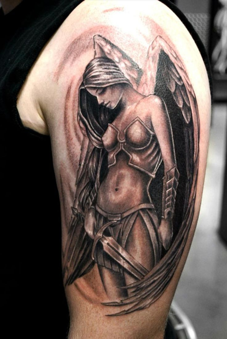 Drawn warrior female angel death Tattoos men's Inspiration for tattoo