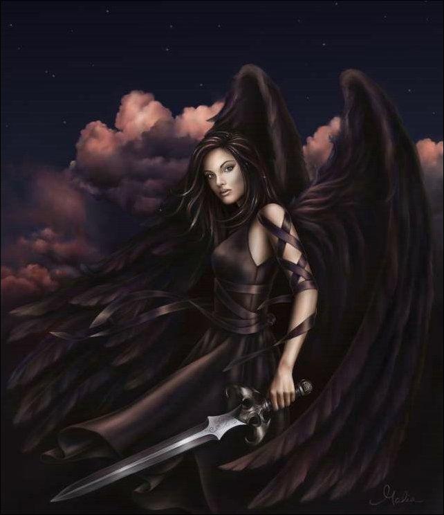 Drawn warrior female angel death Beautiful portrayed on best Warrior