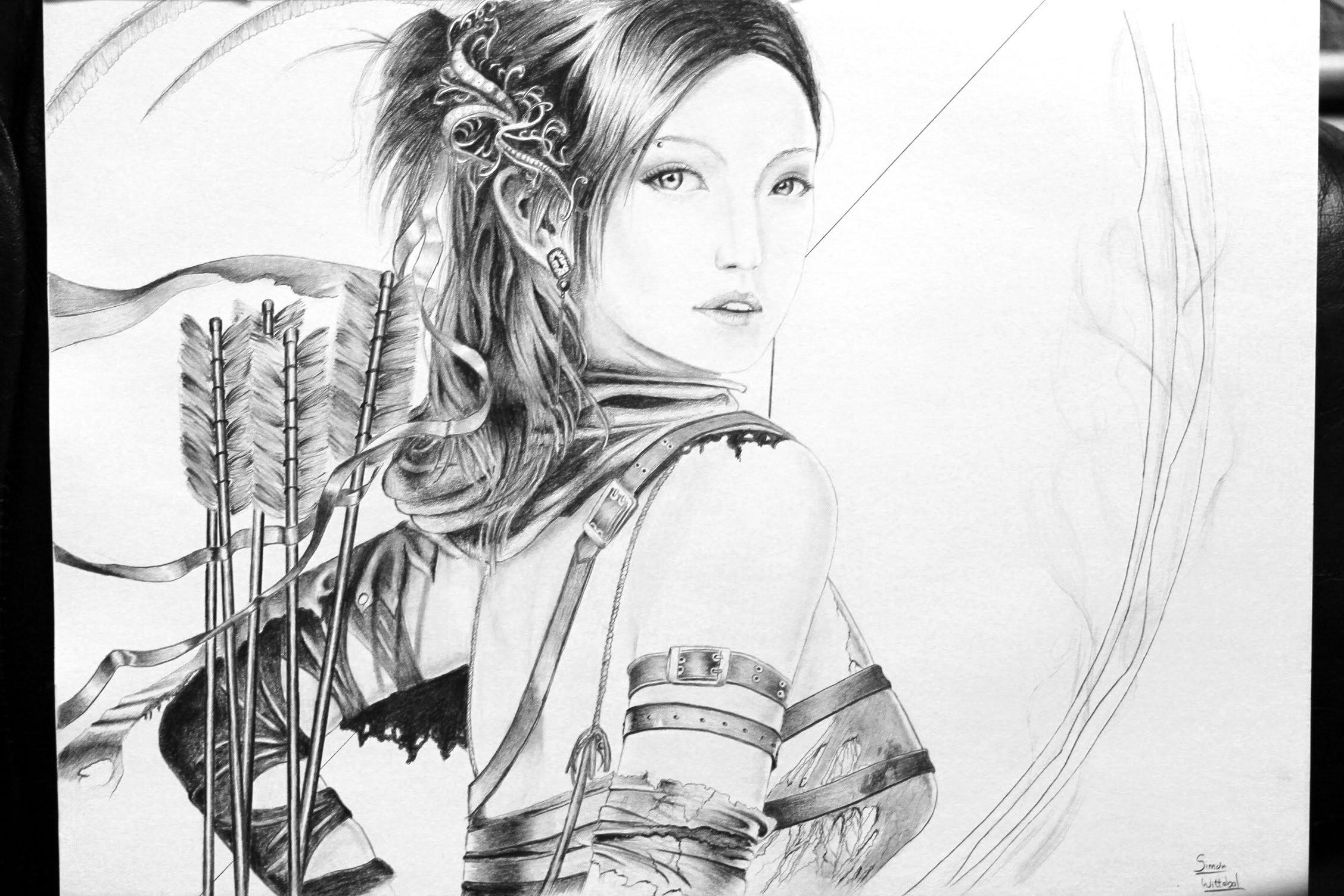 Drawn warrior female archer  archer Fantasy drawing YouTube