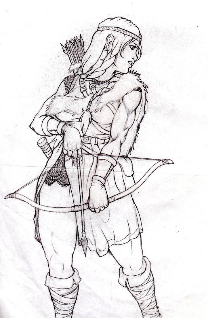 Drawn warrior female archer Viking Archer by DeviantArt Female