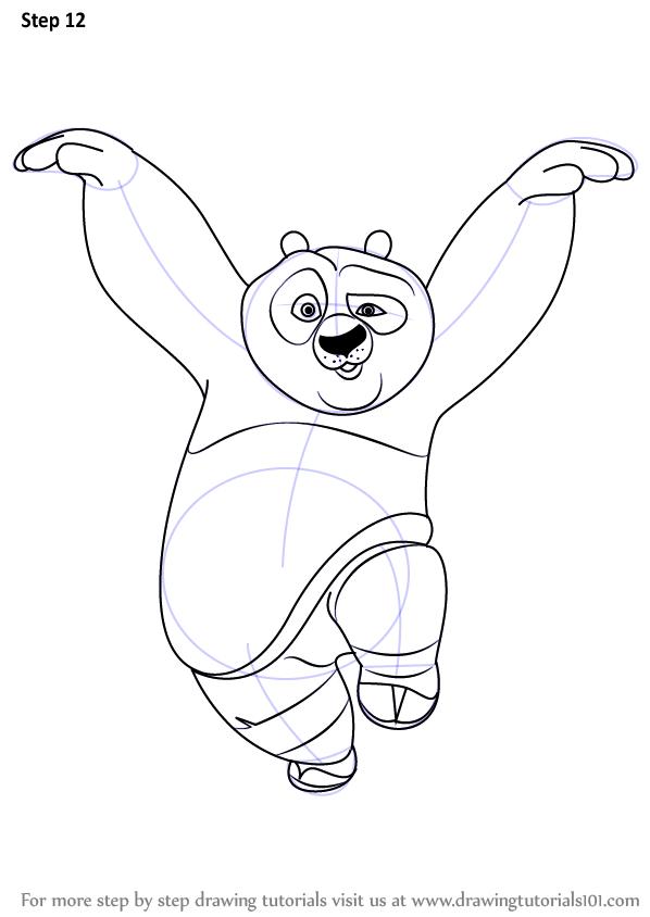 Drawn warrior giant Panda finishing the Fu Panda