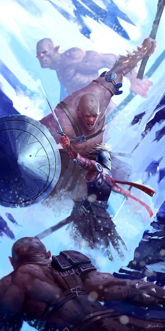 Drawn warrior giant Against toe lone toe A