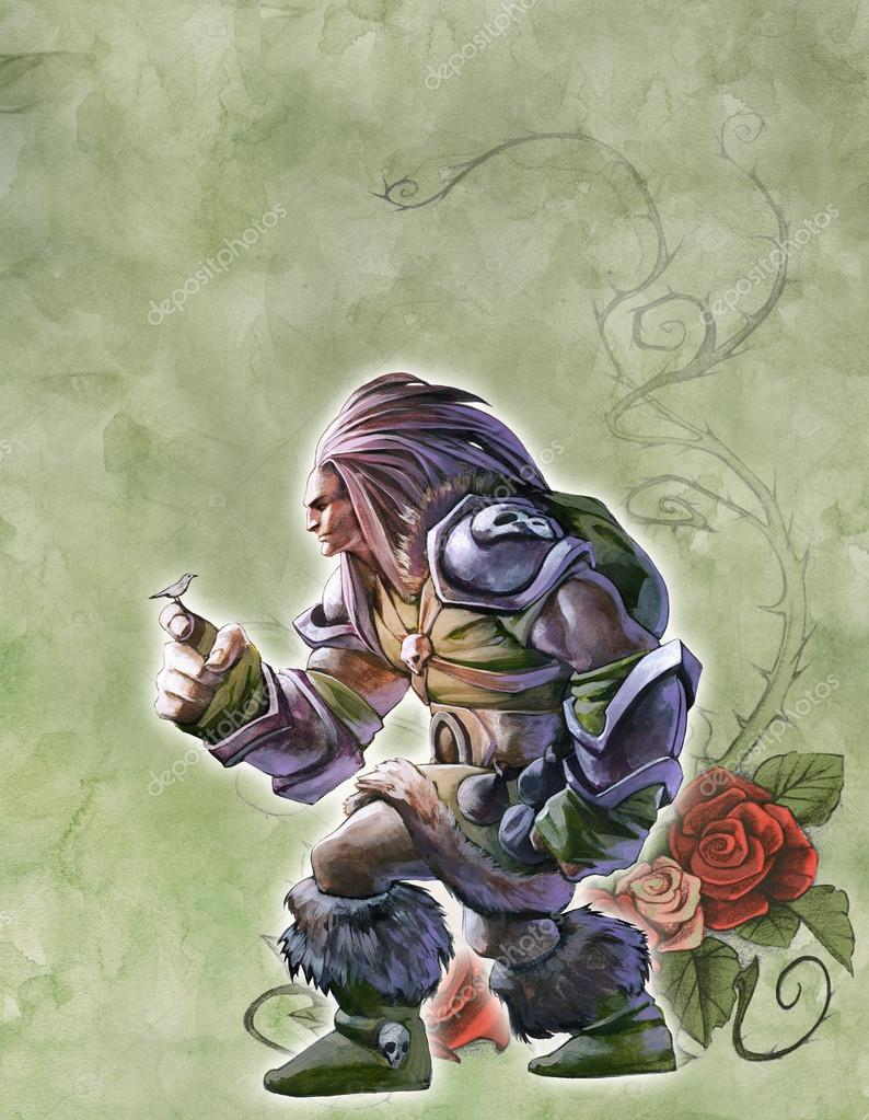 Drawn warrior giant Giant with drawn A_Petruk a