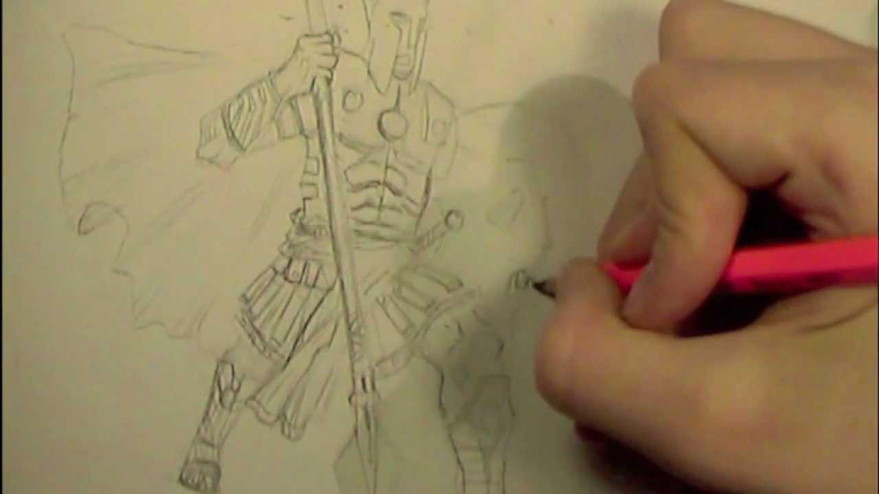 Drawn warrior greek soldier Greek drawing  pose) time