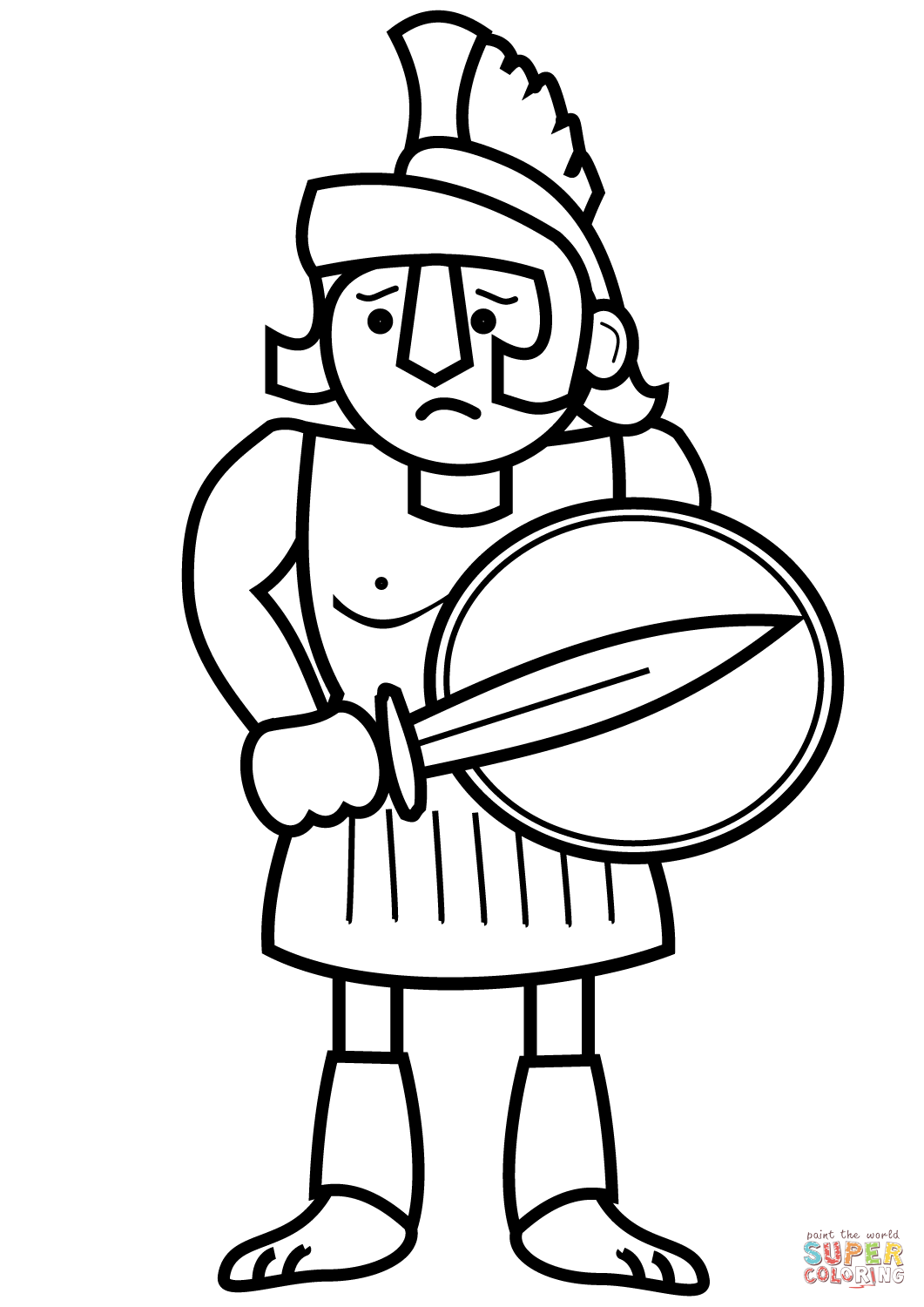 Drawn warrior greek soldier Greek the Click page coloring