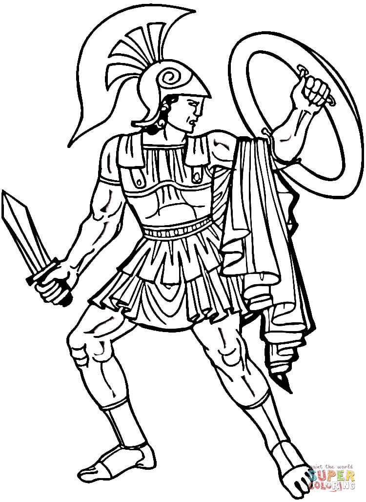 Drawn warrior greek soldier Greek the Click Pages Coloring