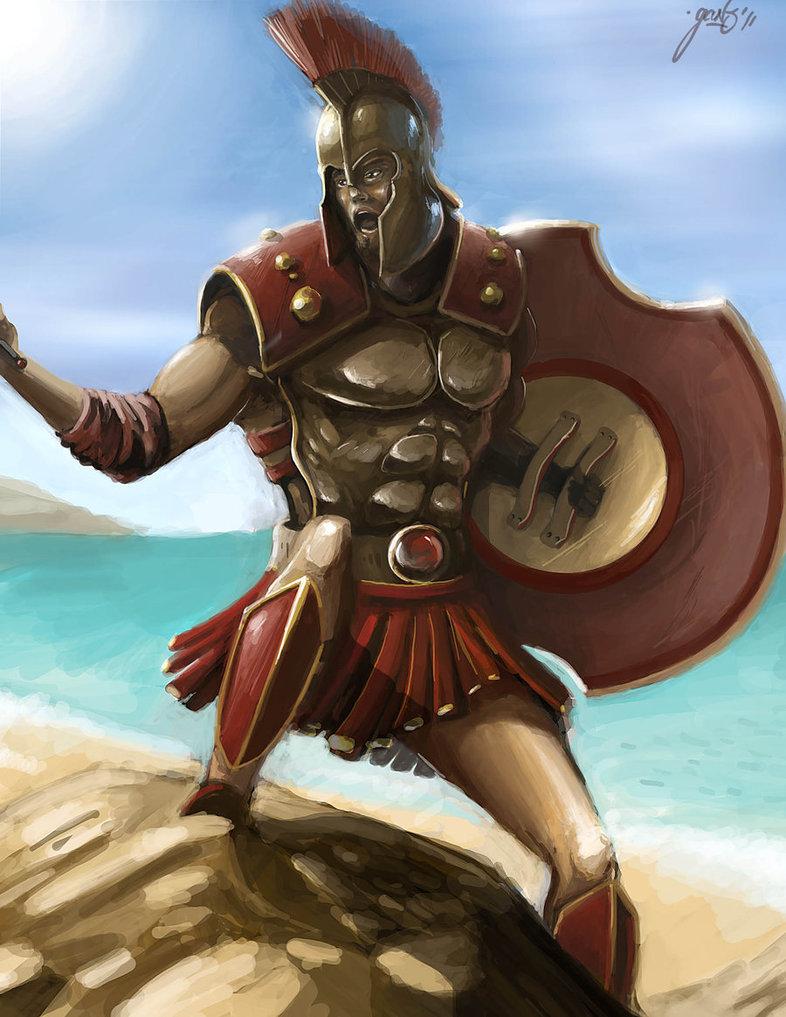 Drawn warrior greek soldier Of battle Greek  Polemos/Bellum
