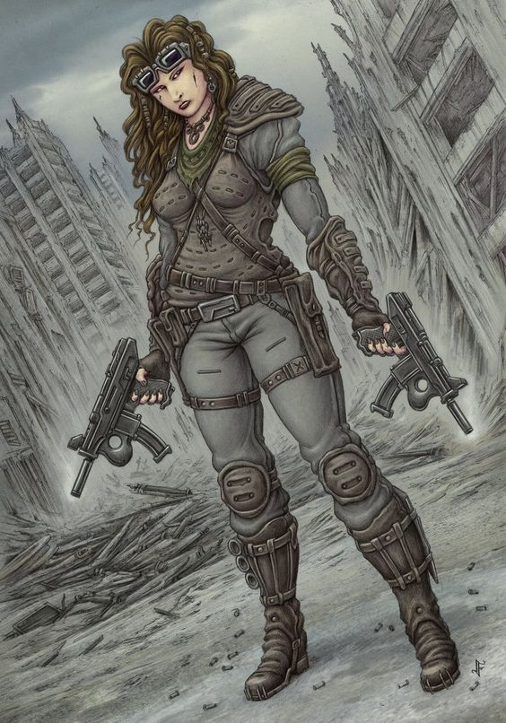 Drawn warrior gunslinger Artist for a rough female