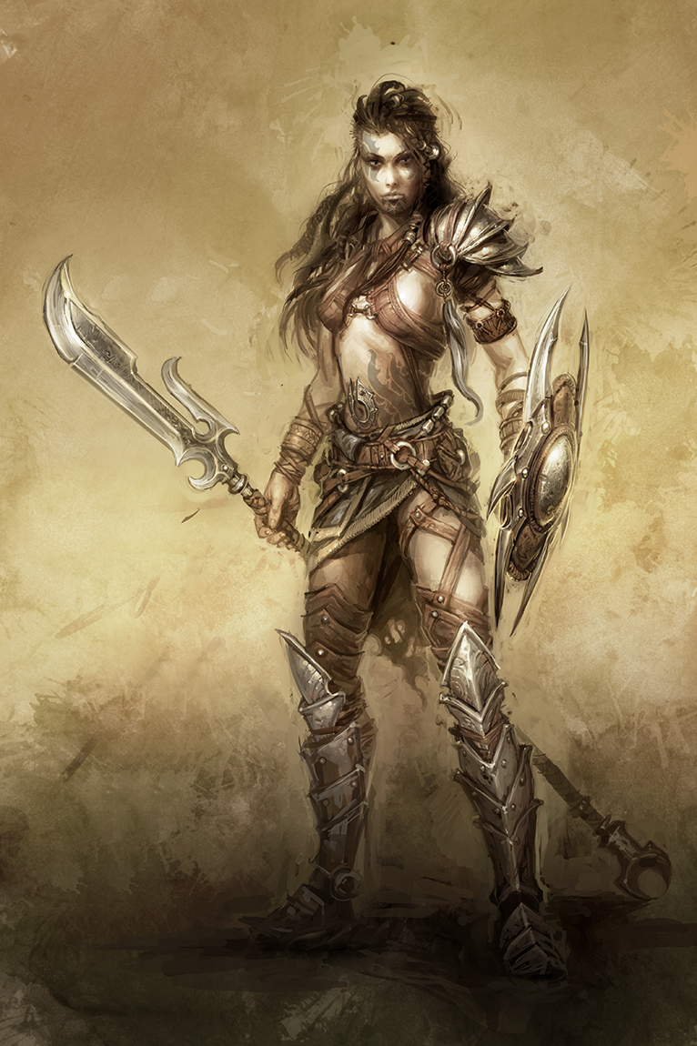 Drawn orc spear Warrior Barbarians Barbarians girl Gallery
