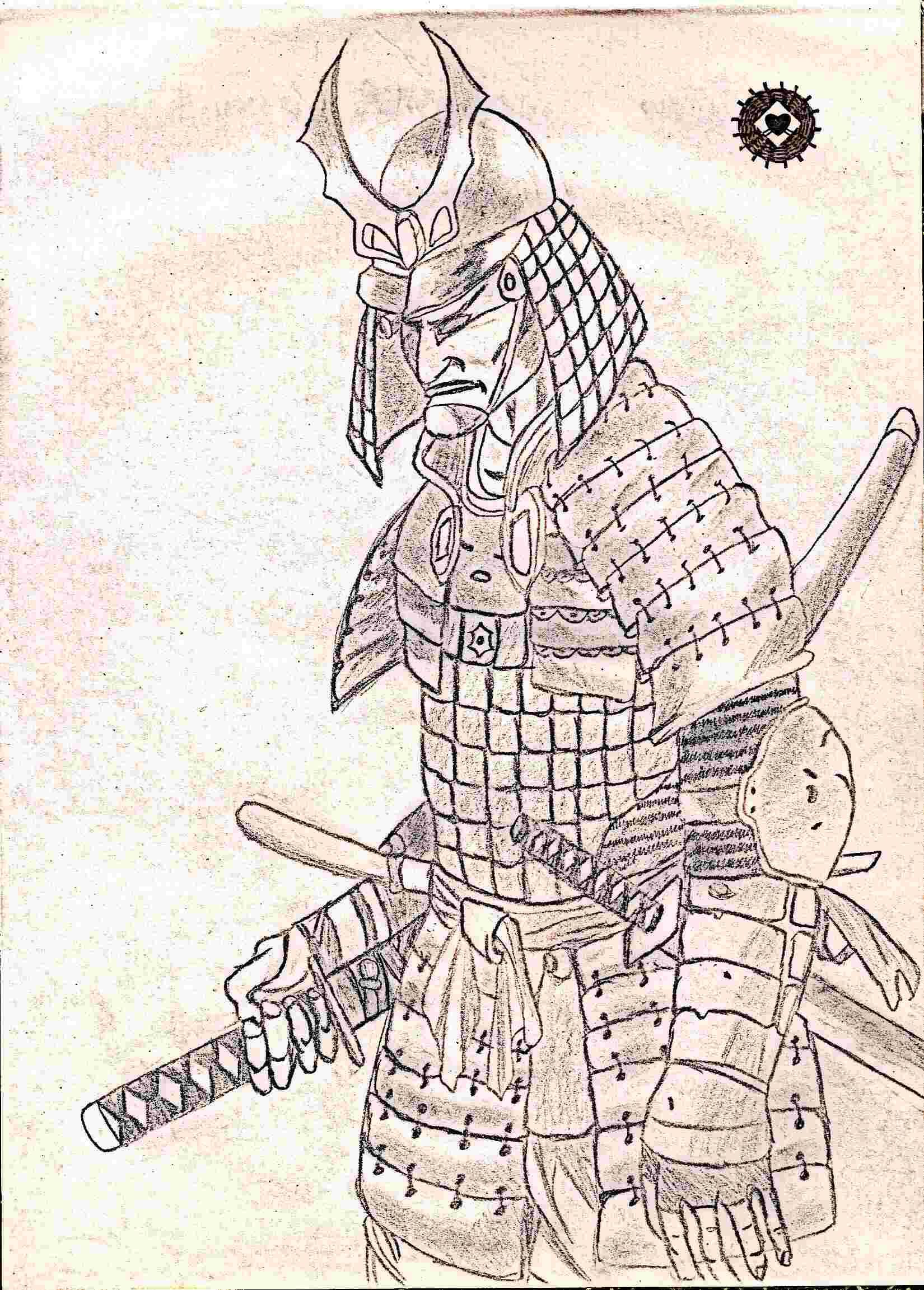 Drawn samurai samurai warrior Traditional pre who in a