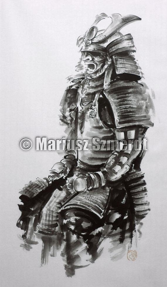Drawn warrior japan samurai Armor Painting Wall Original