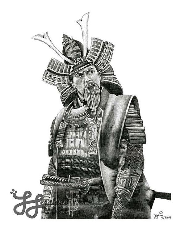 Drawn warrior japan samurai Similar Wall Art Samurai 8x10