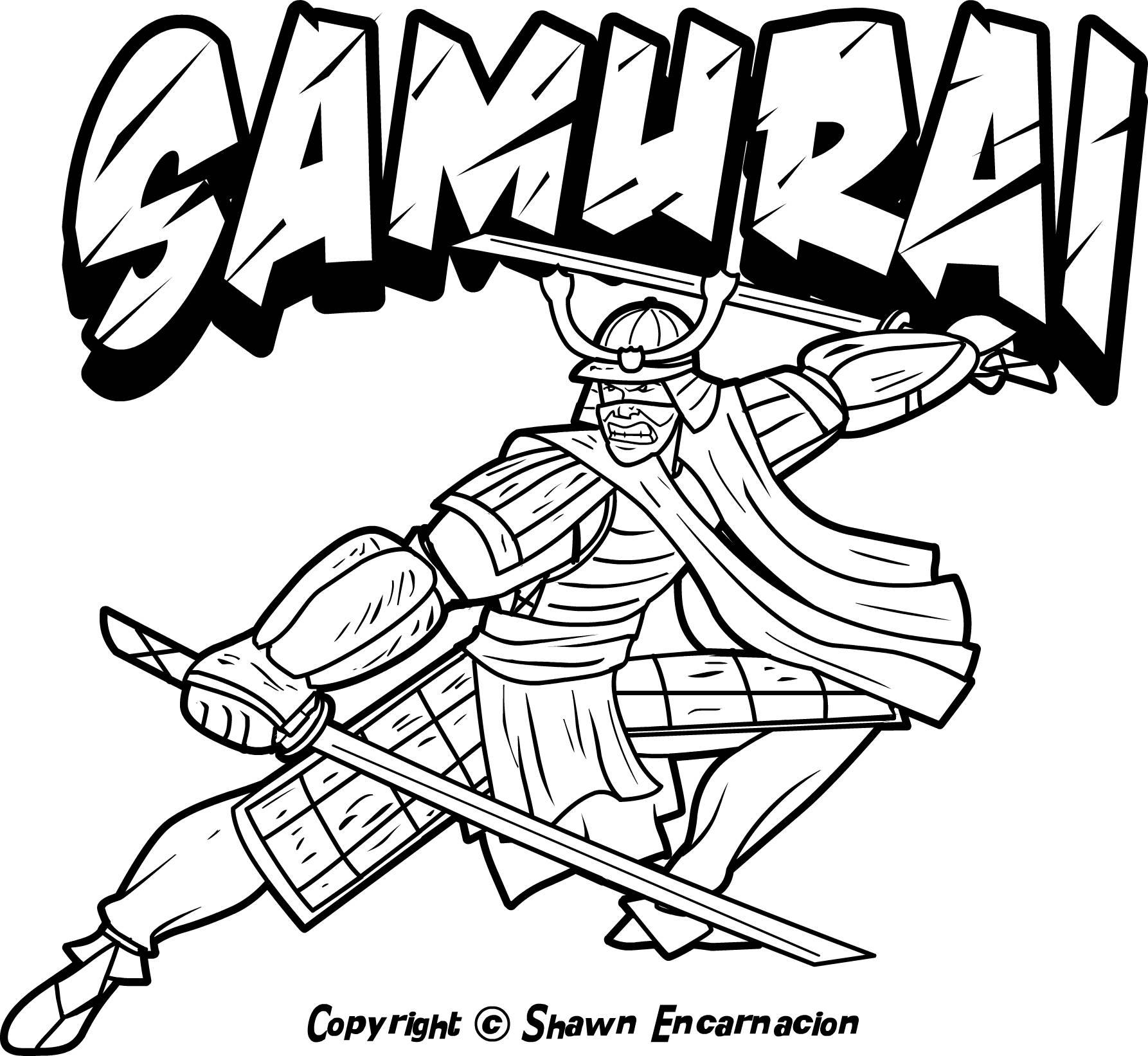 Drawn samurai japanese symbol Samurai Coloring Japan coloring Warriors