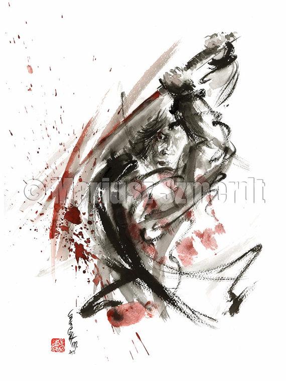 Drawn warrior kimono Art  art Japanese samurai