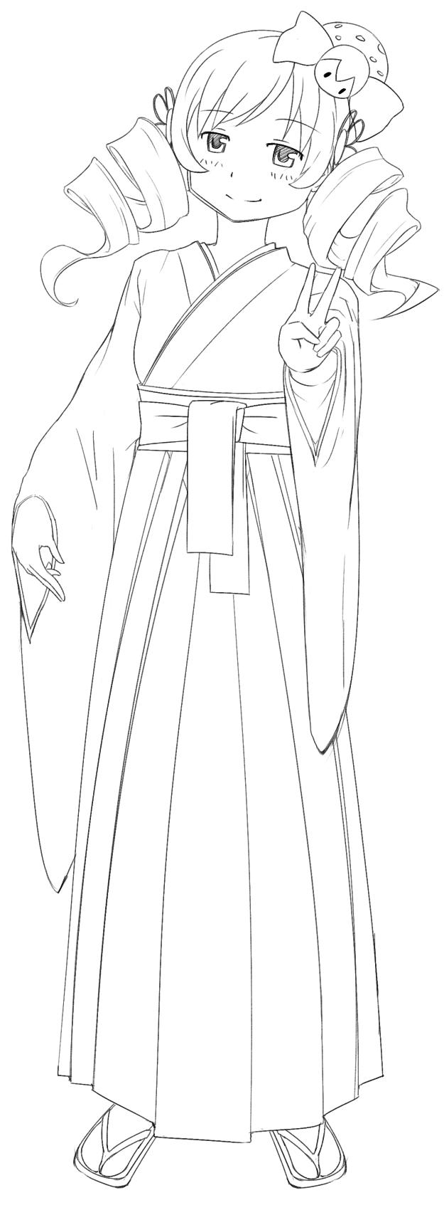 Drawn warrior kimono Tomoe (Uncolored) RyuWarrior  (Uncolored)