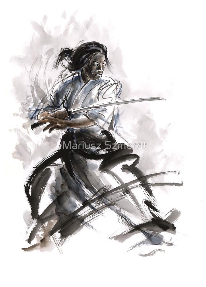 Drawn warrior kimono By Szmerdt katana Mariusz kimono