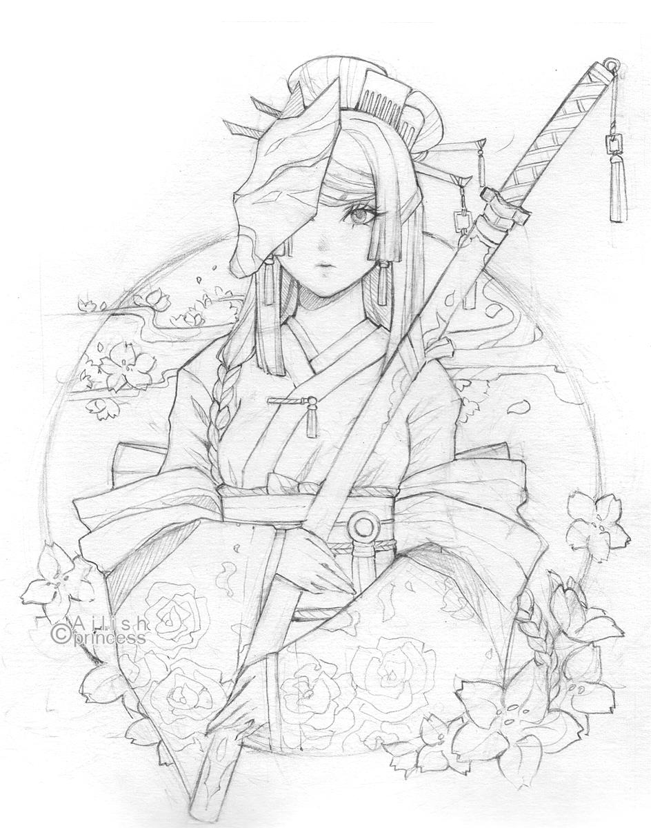Drawn warrior kimono Kimono by on Line art