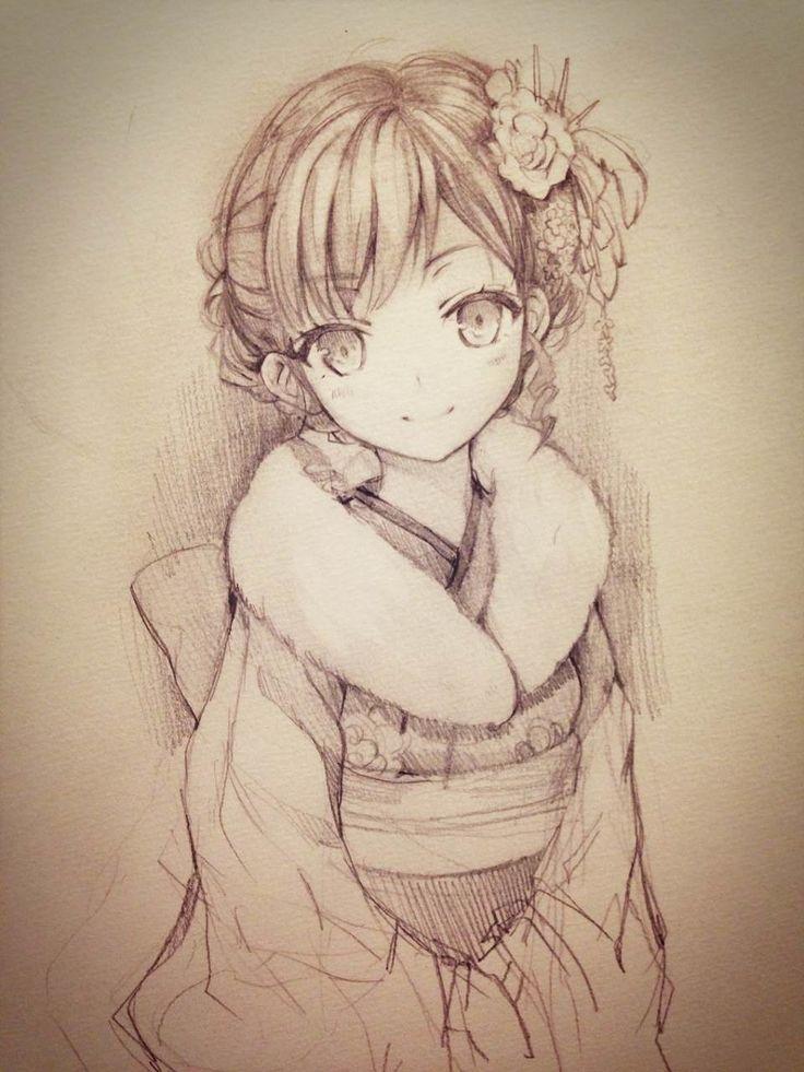 Drawn warrior kimono ✮ kimono furisode anime