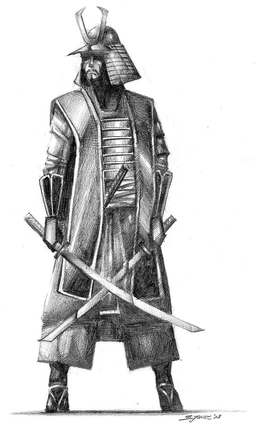 Drawn samurai bushido My Warriors Weapons & Mind: