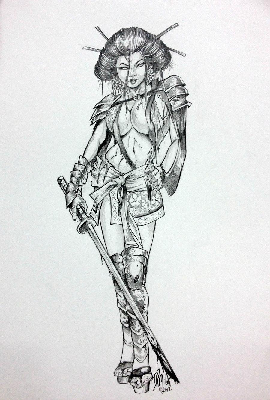 Drawn warrior line art Geisha ConceptsByMiller  Girl DW