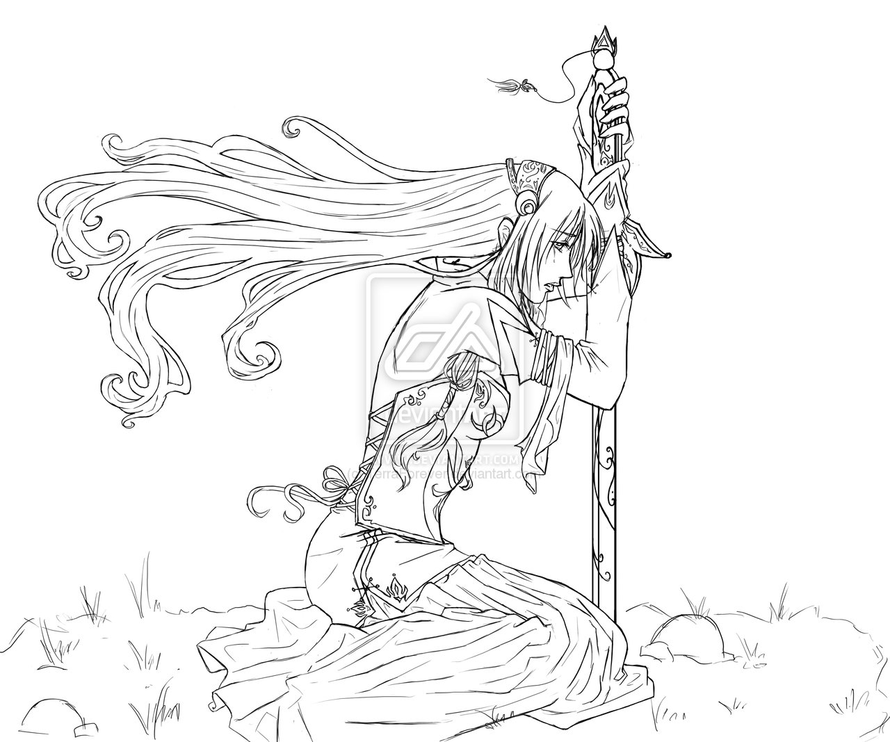 Drawn warrior line art On CSS CSS Lineart Elf