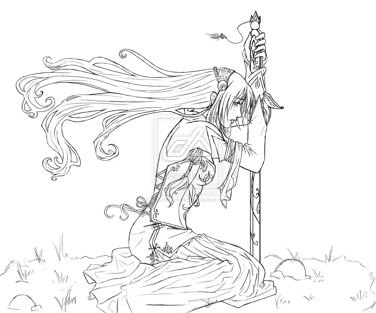 Drawn warrior line art Elf CSS Lineart deviantART Warrior