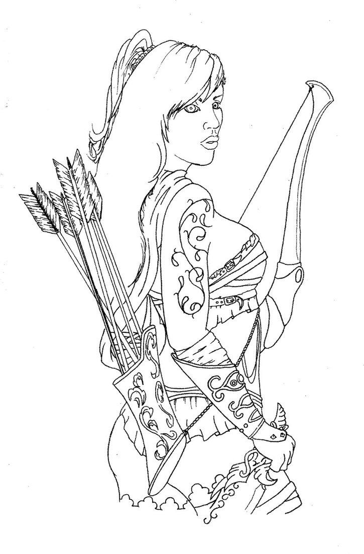 Drawn warrior line art Female DeviantArt warrior Inkspressions by