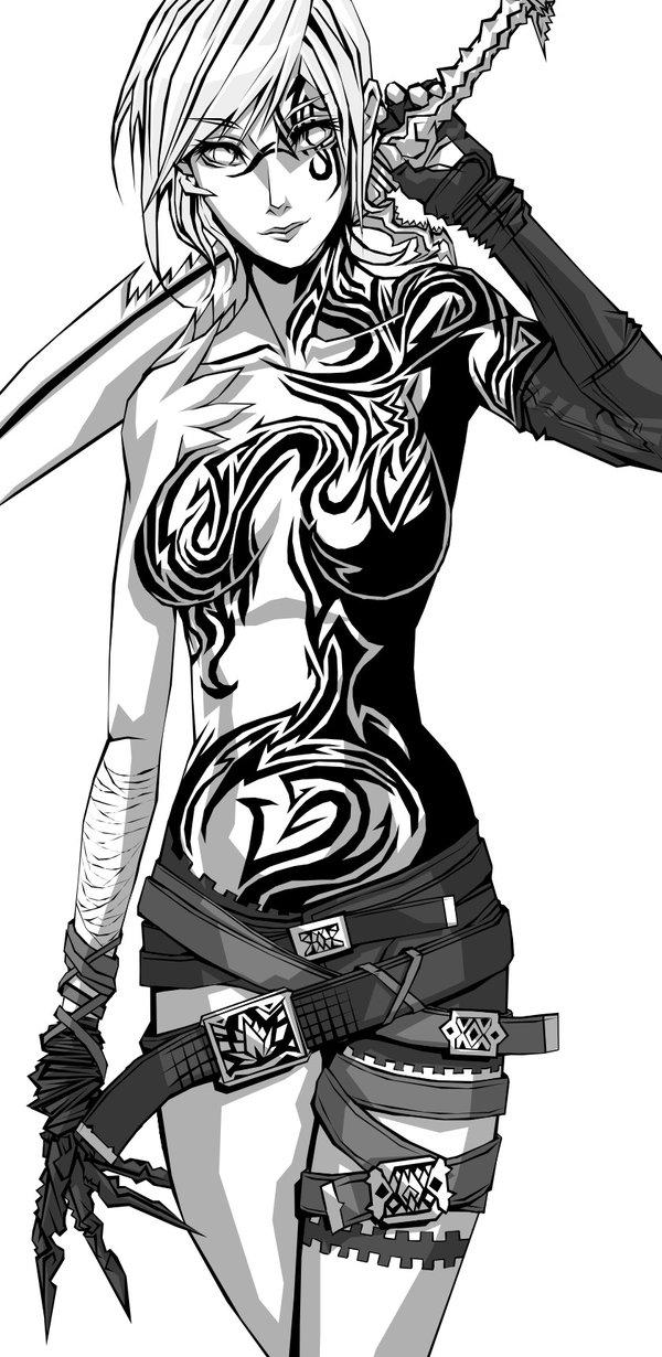 Drawn warrior line art Female on Art ~tekkoontan Warrior