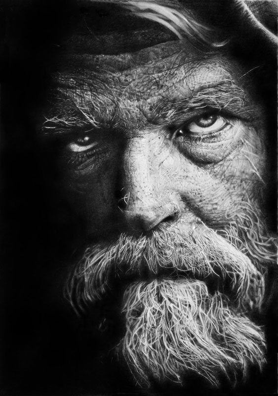 Drawn warrior old Hyperrealistic Drawn with homeless Pencil