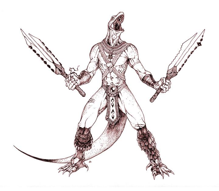 Drawn warrior reptile Aztec edcomics Reptiles Warrior by