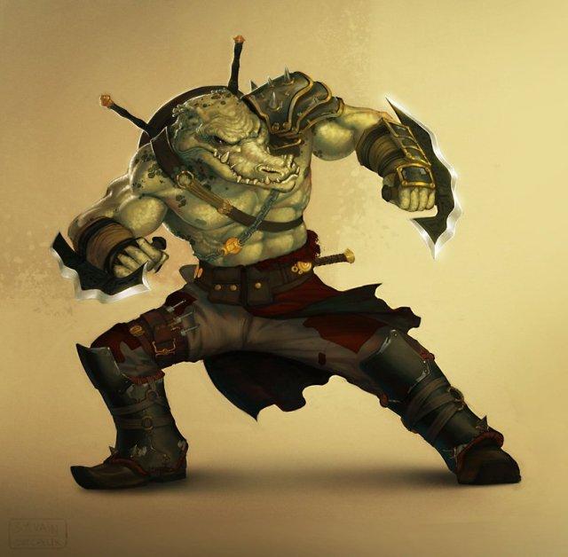 Drawn warrior reptile (2d crocodile crocodile reptile) character