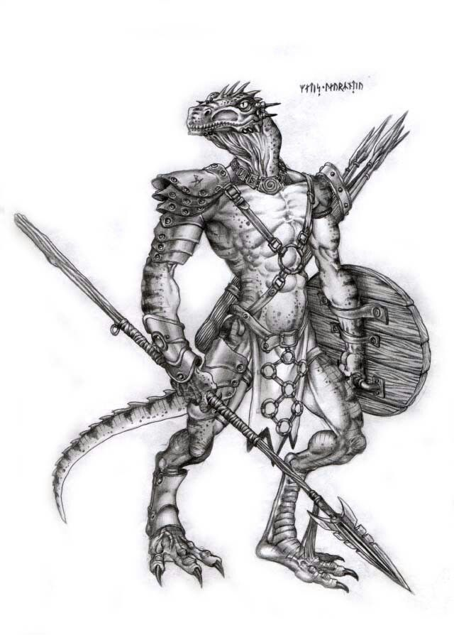 Drawn warrior reptile Best on Pinterest Lizardman images
