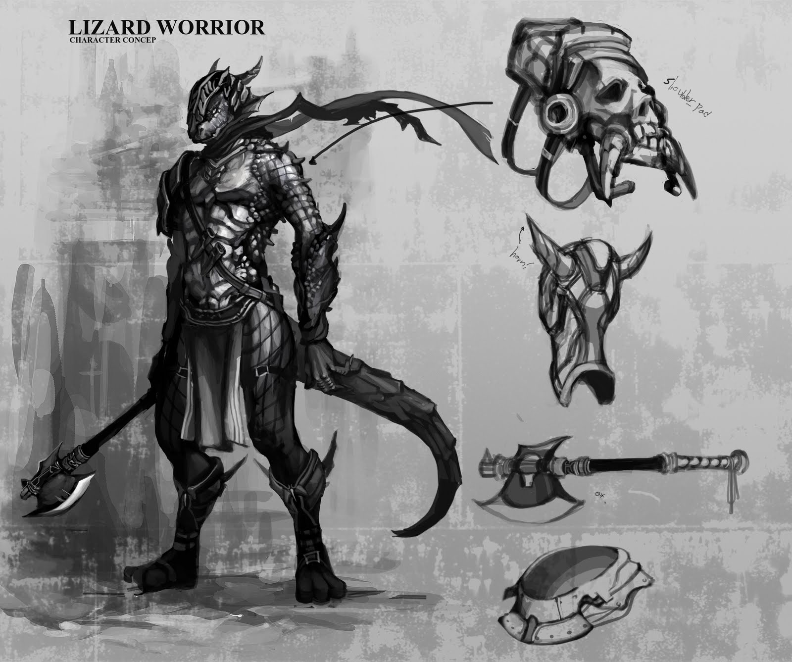 Drawn warrior reptile Warrior Pinterest lizard lizard Male