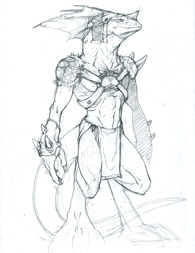 Drawn warrior reptile By Sketch by Reptile Warrior