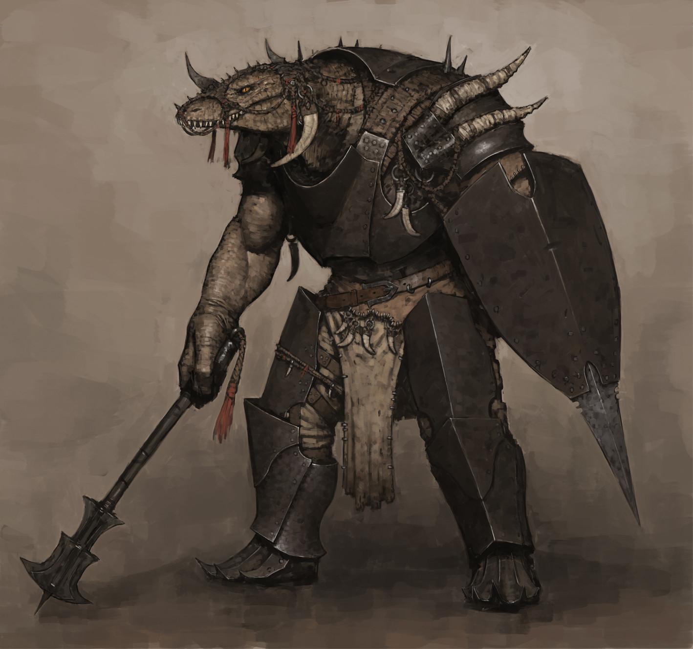 Drawn warrior reptile Perez https://www https://www artstation ArtStation