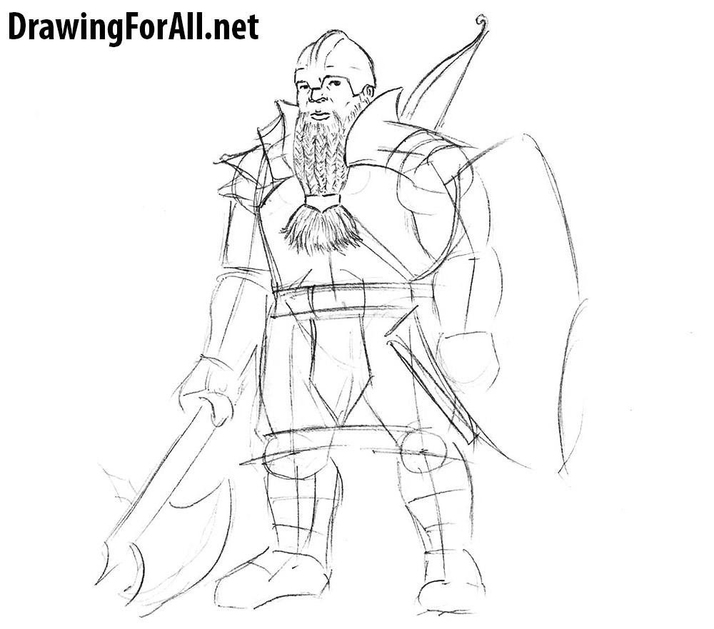 Drawn warrior rpg Dwarf draw a Warrior learn