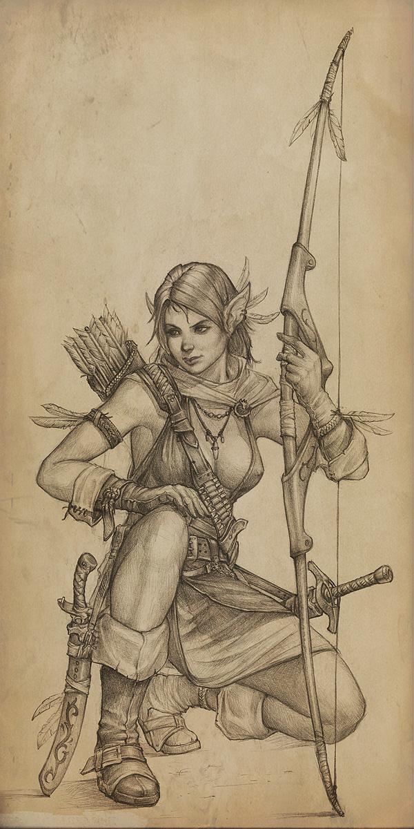 Drawn warrior rpg Elf slipgatecentral sword RPG female
