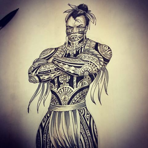 Drawn warrior shaman #ink #protection #tatau photos videos