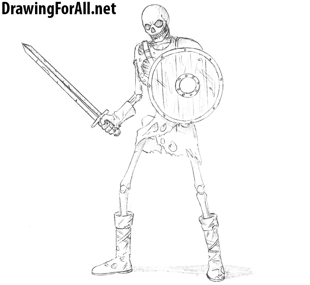 Drawn warrior skeleton knight Skeleton DrawingForAll How a to