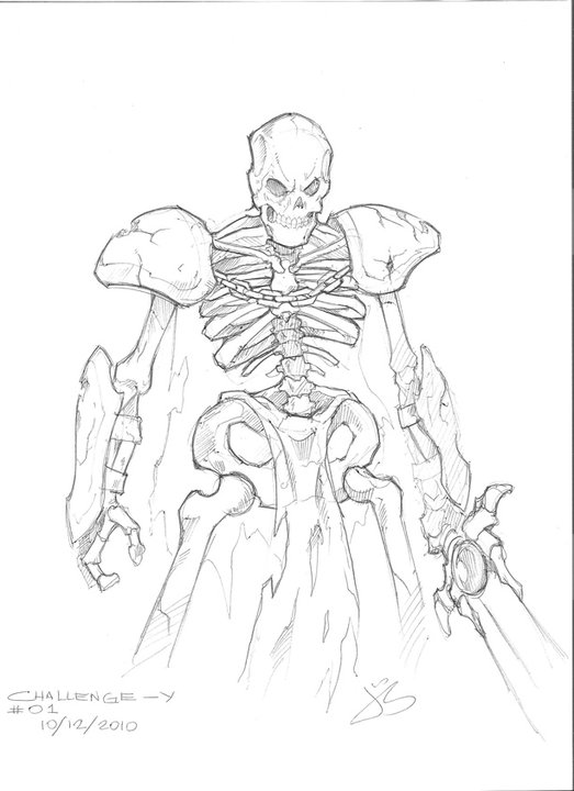 Drawn warrior skeleton knight Jack0001 Skeleton Sketches by Skeleton