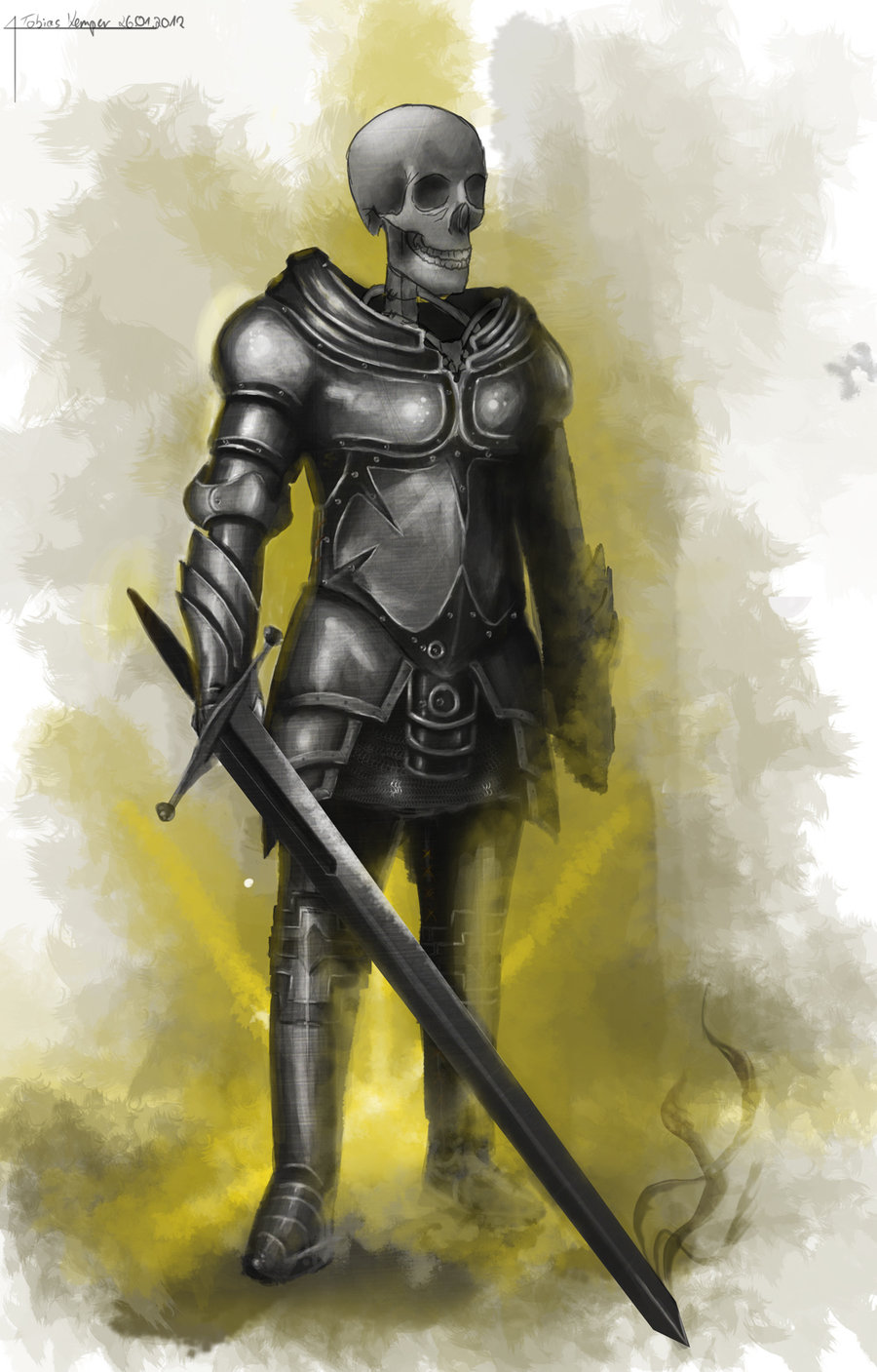 Drawn warrior skeleton knight Skeleton on by w1z0x knight