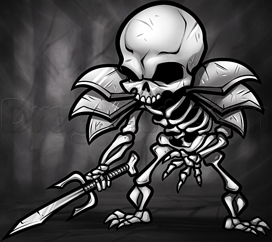 Drawn skeleton skeleton warrior Draw Skeleton skeleton Step How