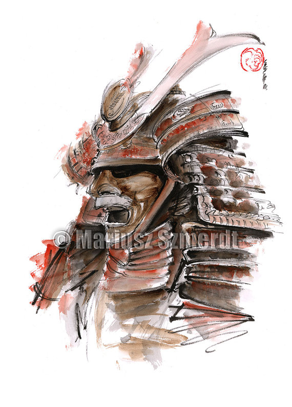 Drawn samurai traditional Armour Mask Samurai Japanese Armour