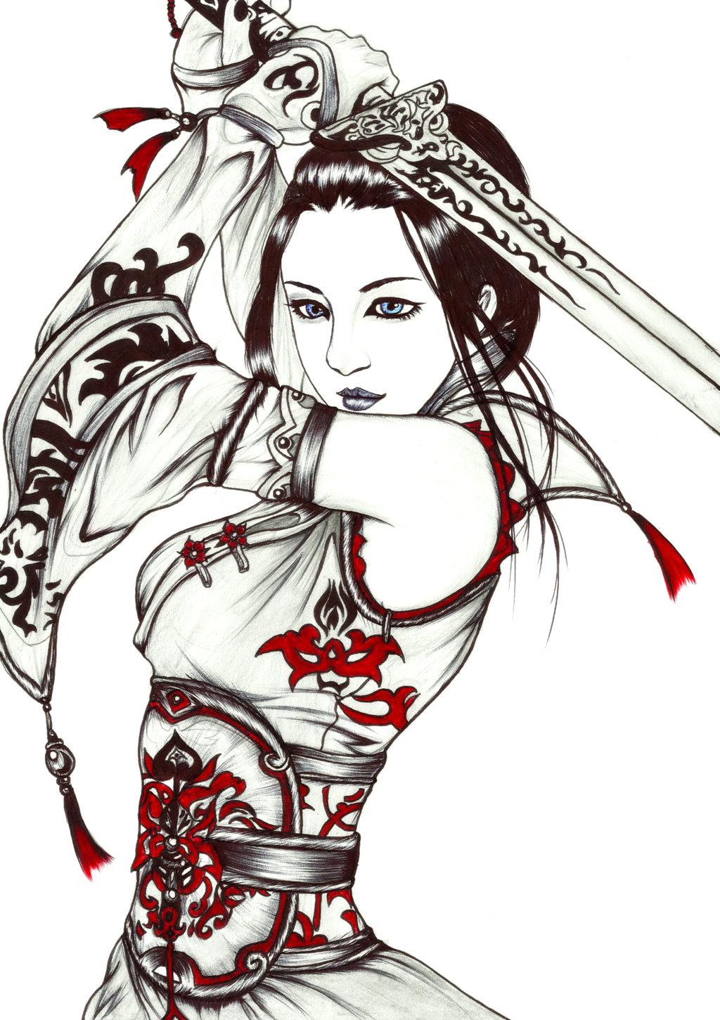 Drawn samurai samurai warrior By by Warrior by on
