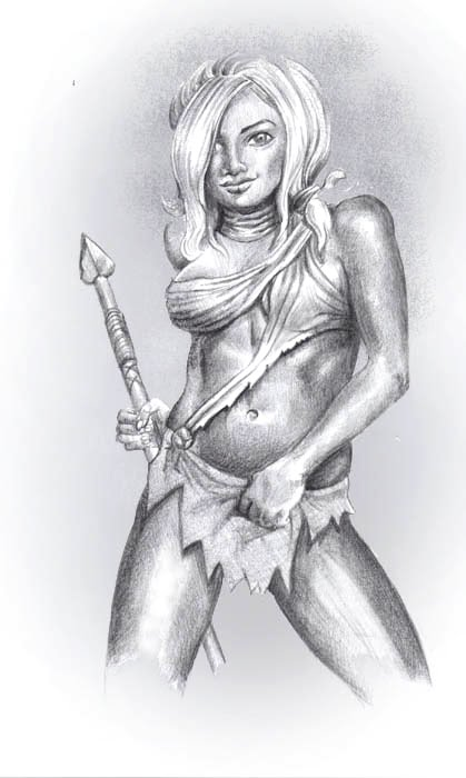 Drawn warrior tribal woman Power! spear weapons animal fantasy