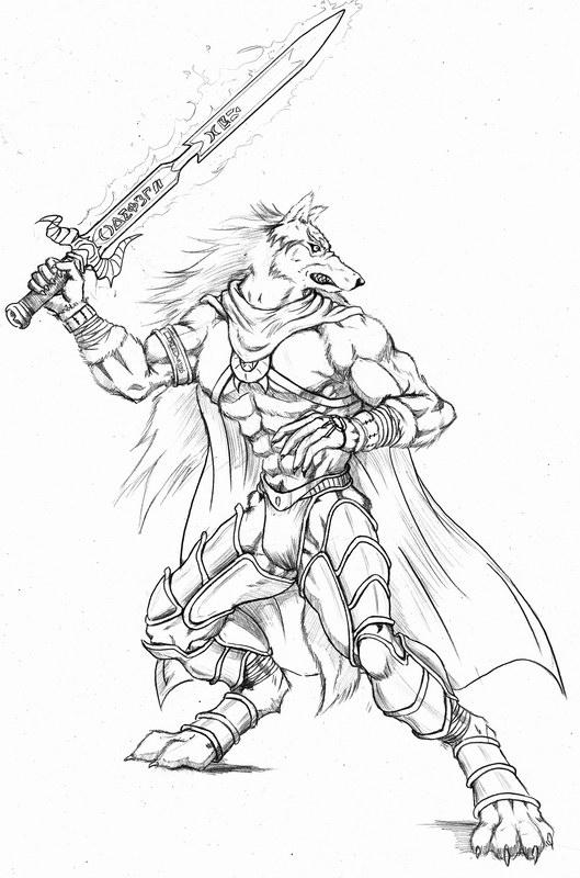 Drawn werewolf armor Wolf ciuchy flame Wolf warrior