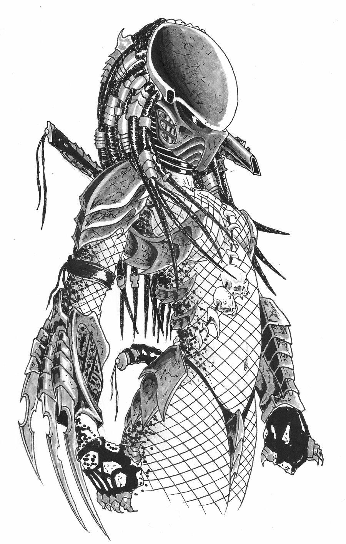 Drawn warrior yautja Predator Predator/Yautja Female female